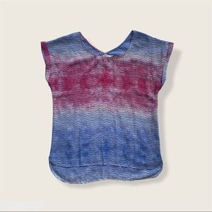 Pink Blue Ombre High Low Striped Shirt